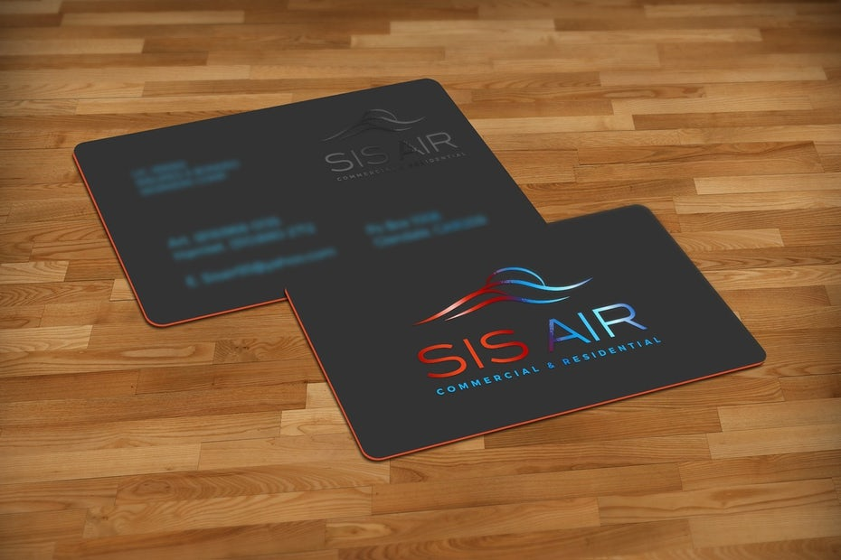 red black and blue real estate business card
