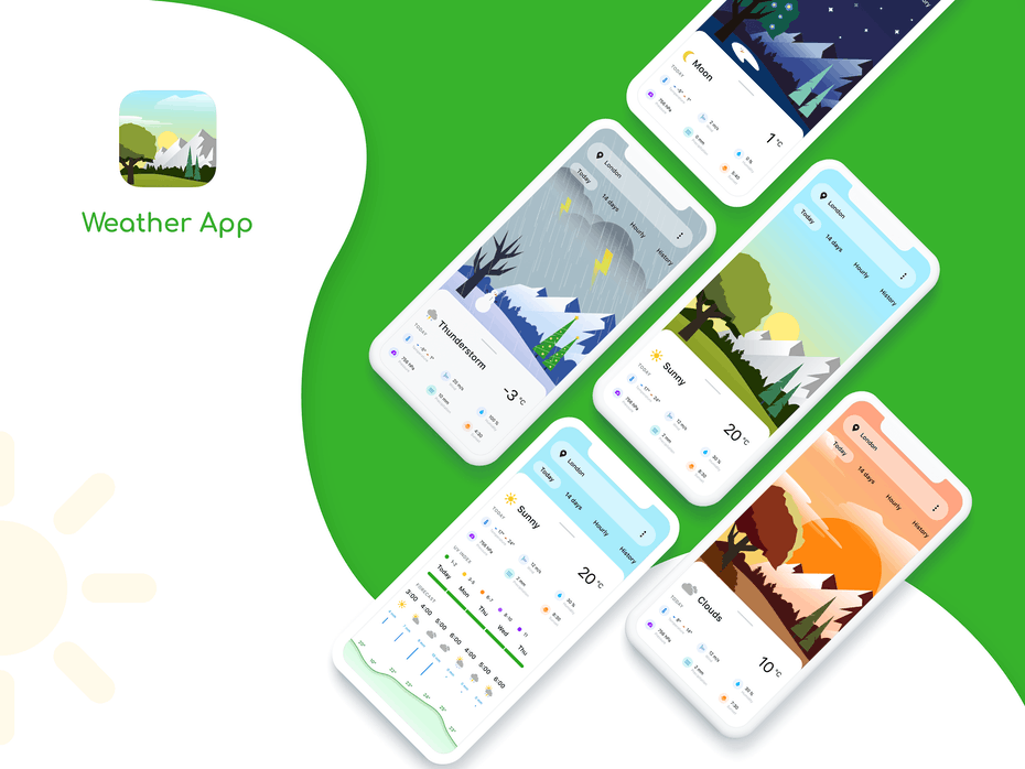 colorful weather app with semi-flat pictures of various weather conditions