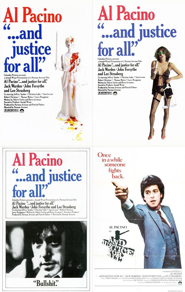 '...and justice for all' Al Pacino movie poster designed by Bob Gill