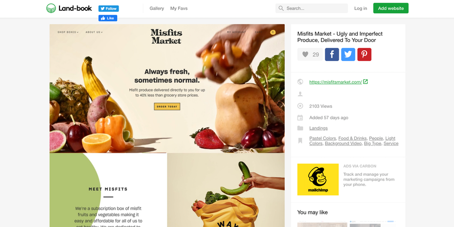 Branding trends 2020 example: Misfits Market landing page