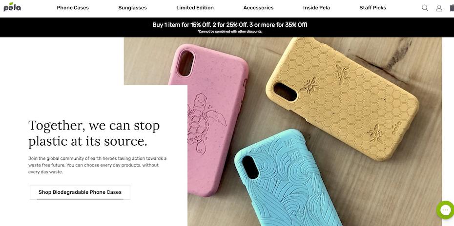Branding trends 2020 example: Pela Case landing page