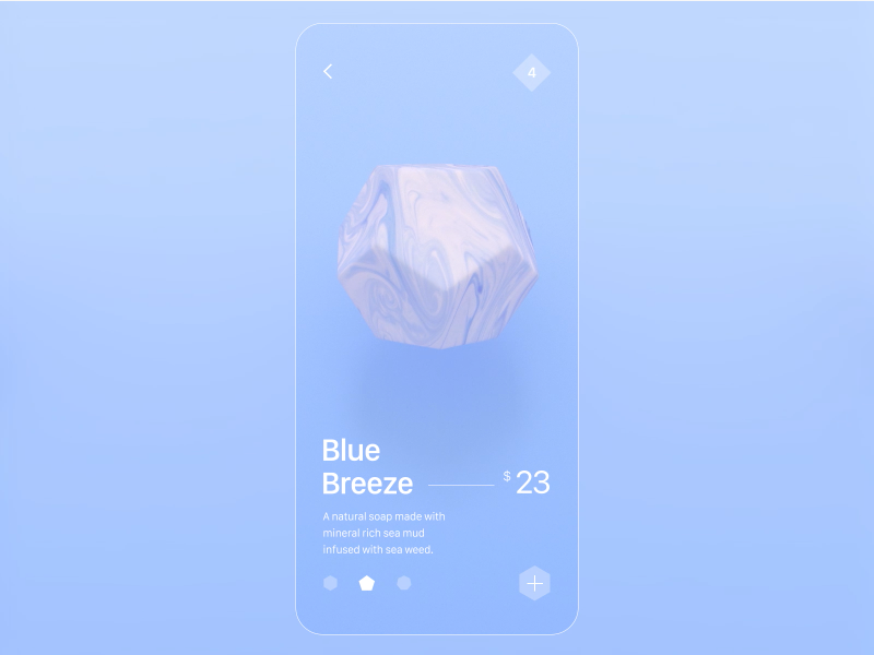 pastel-toned soap retailer app showing 3D renderings of soaps