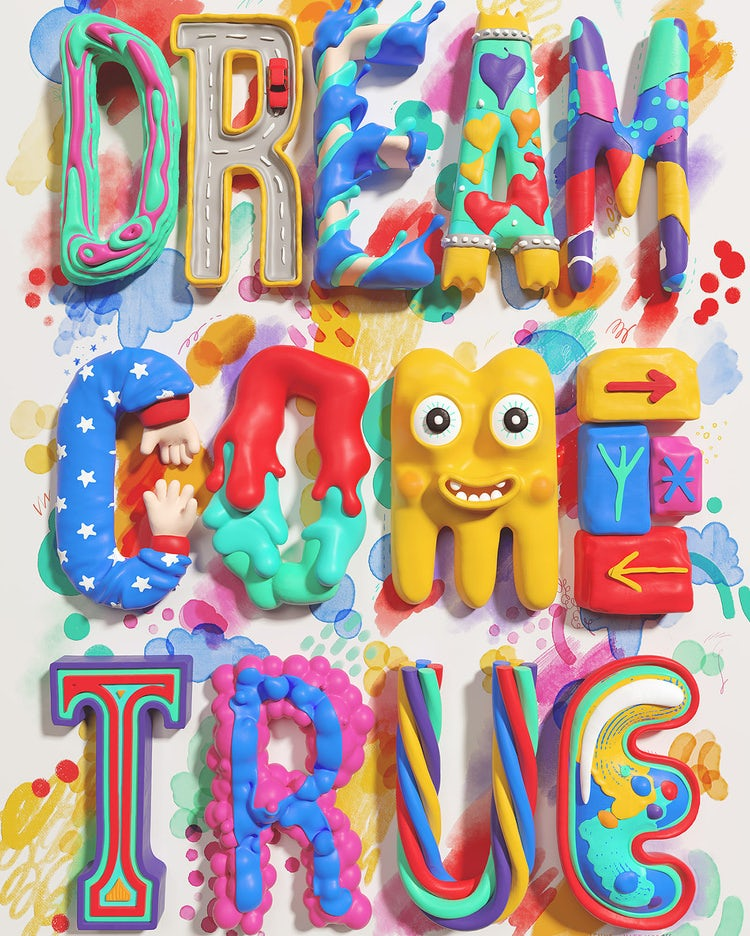 Kate Moross colorful 3D hand-lettering