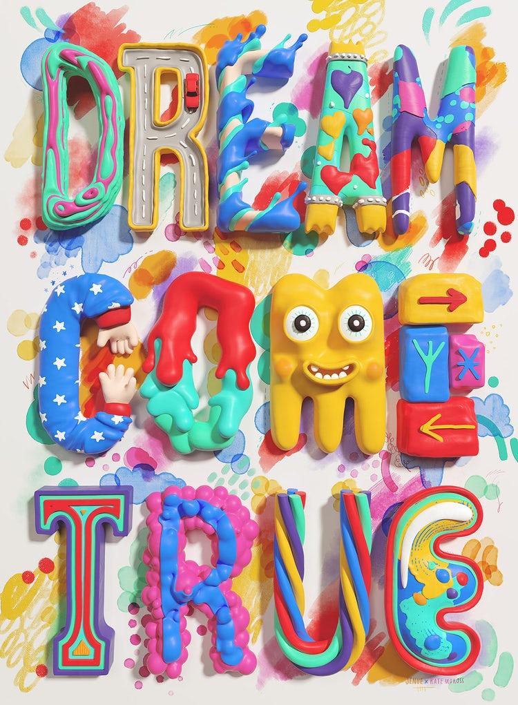 Frases famosas de diseñadores:Kate Moross letras coloridas a mano en 3D