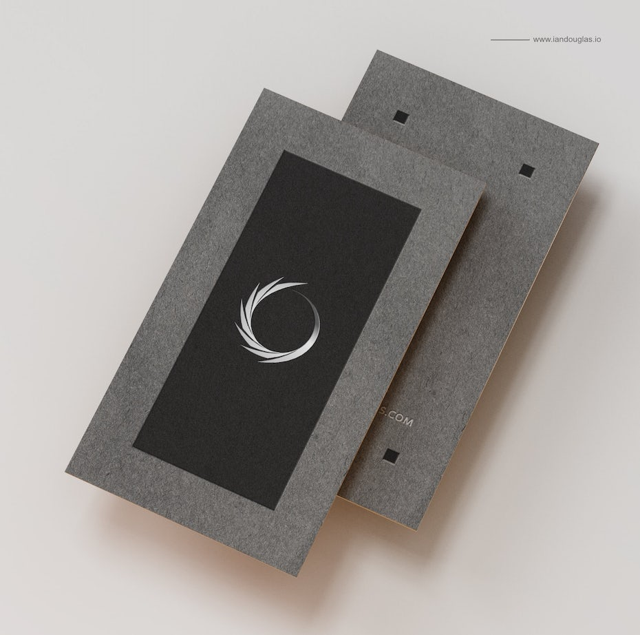 Business cards trends 2020 example: gray border black business card