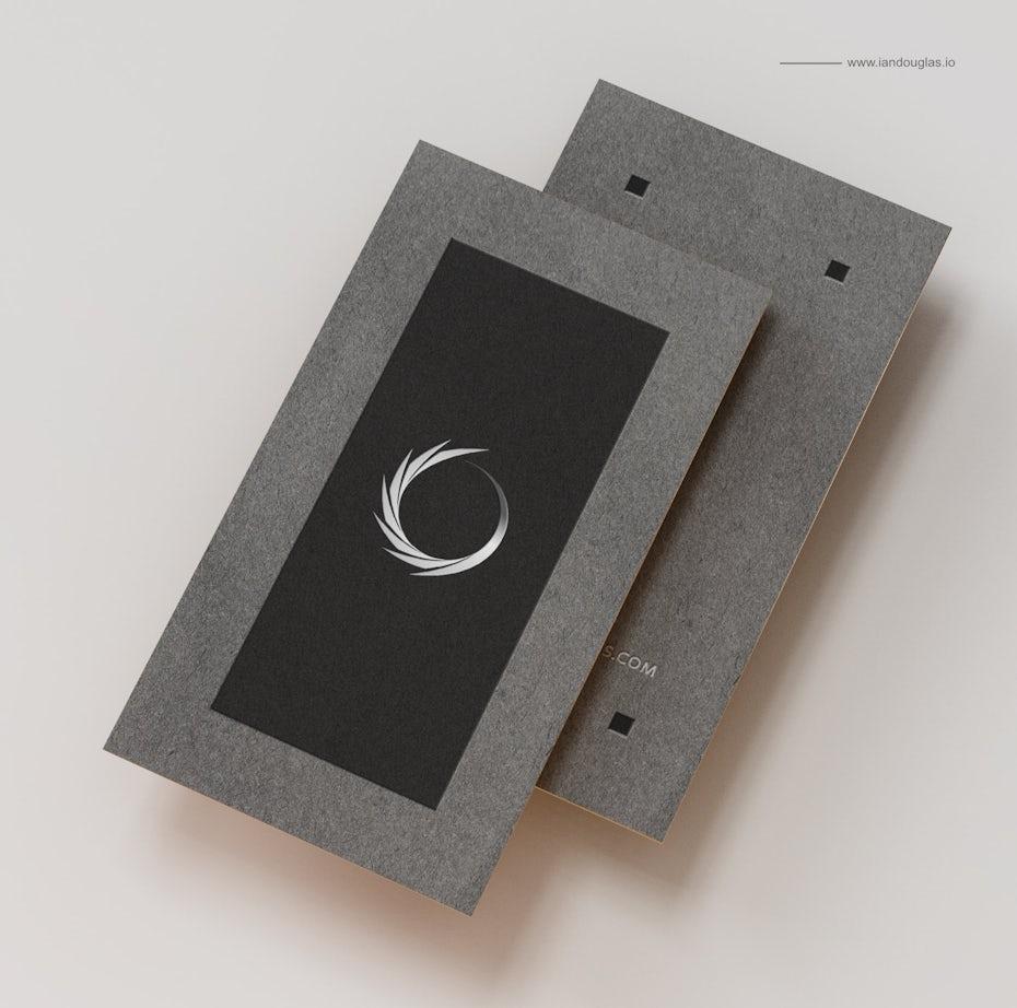 Ejemplo de tendencias de tarjetas de visita 2020: tarjeta de visita negra con borde gris