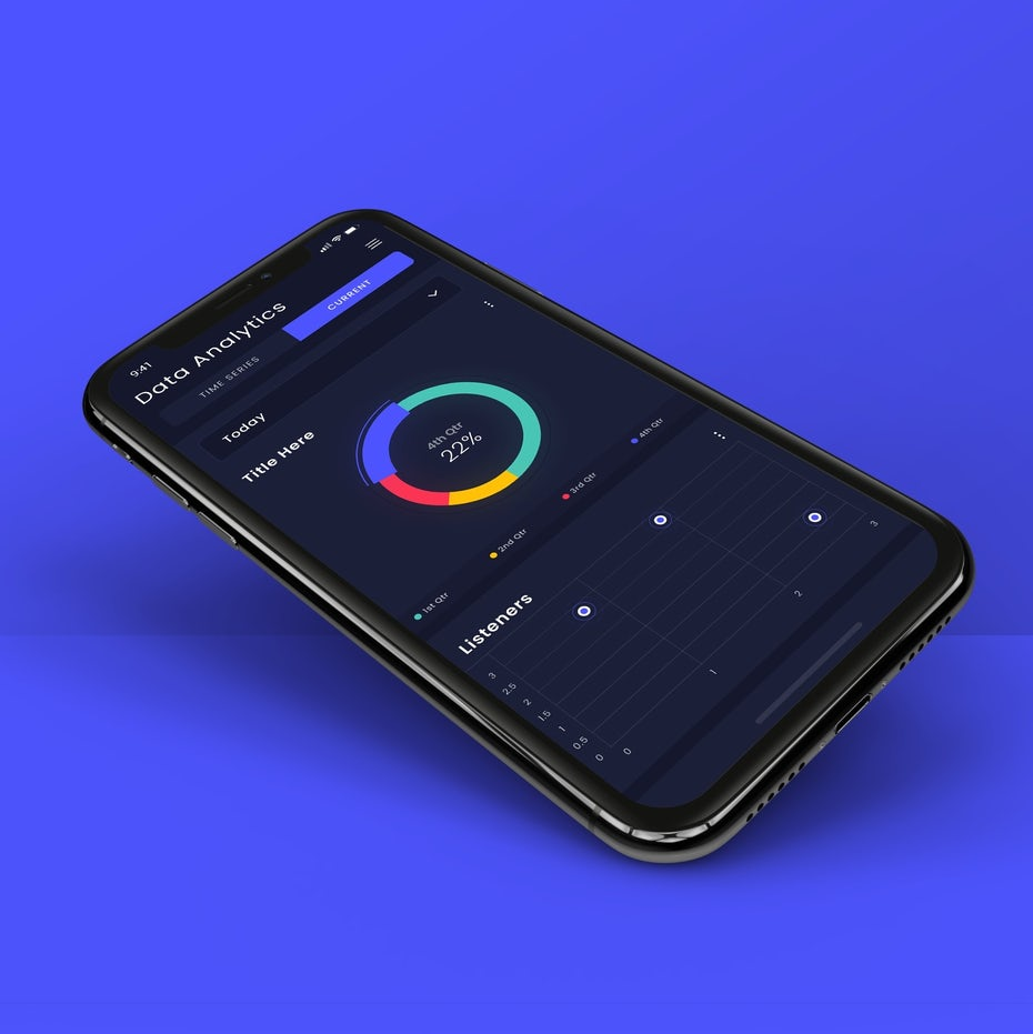 dark data analytics app using bright colors to show different stats