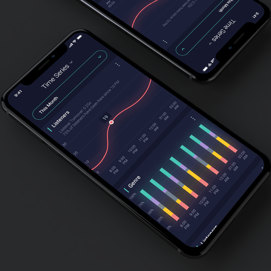 Color trends 2020 example: dark mode Music data app design