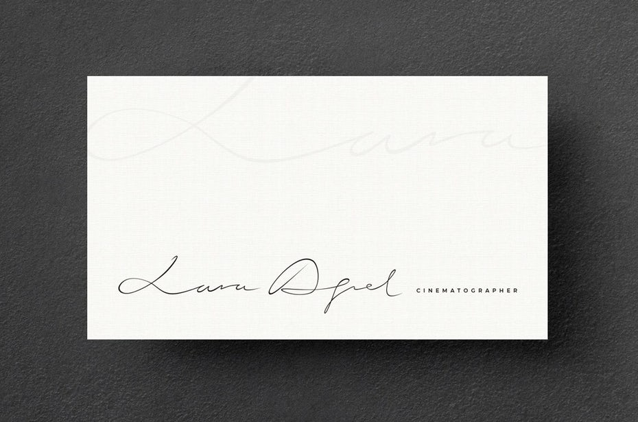 Business cards trends 2020 example: lara aqel cinematographer business card
