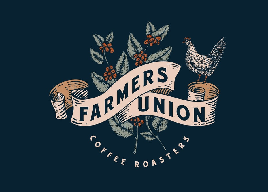 Color trends 2020 example: vintage palette Farmers Union Coffee Roasters logo