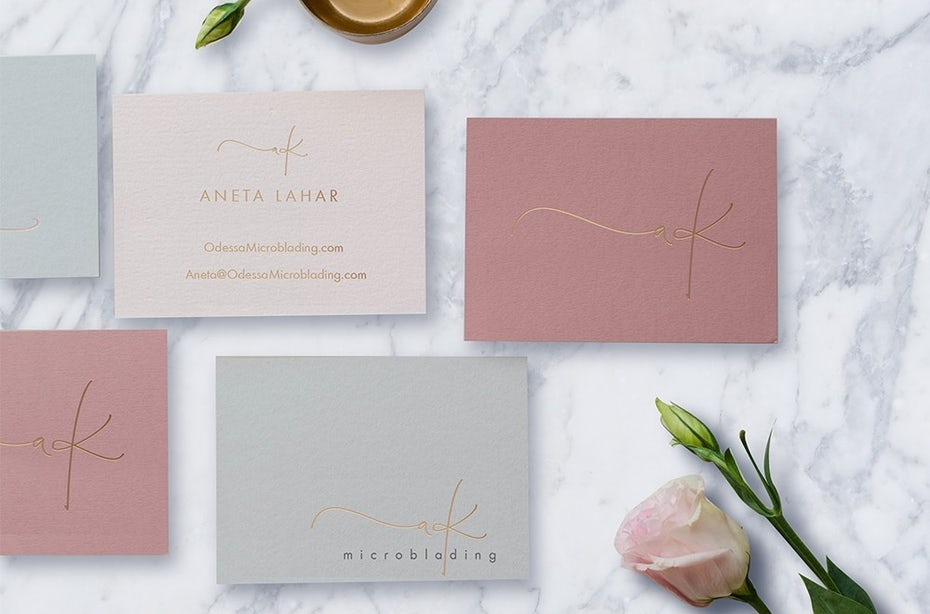 Business cards trends 2020 example: signature microblading business card