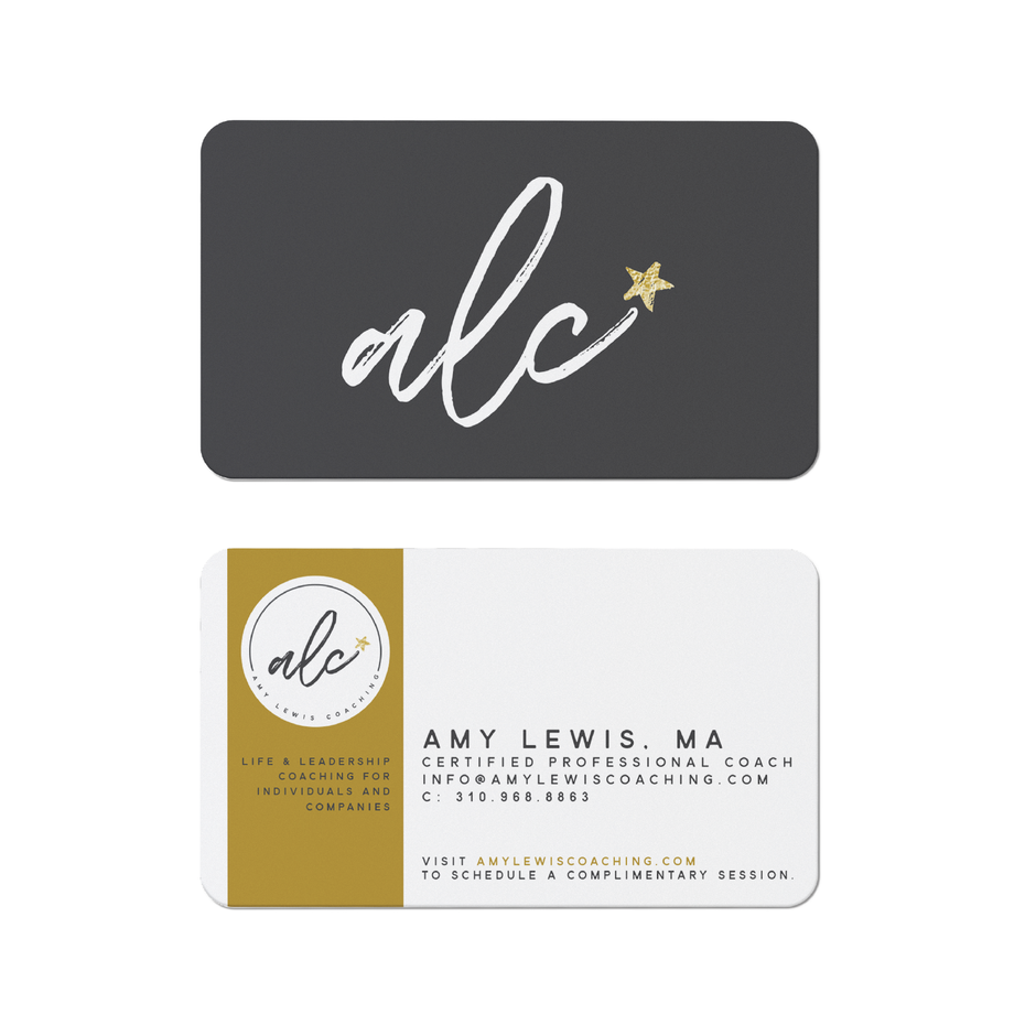Business cards trends 2020 example: alc coaching business card