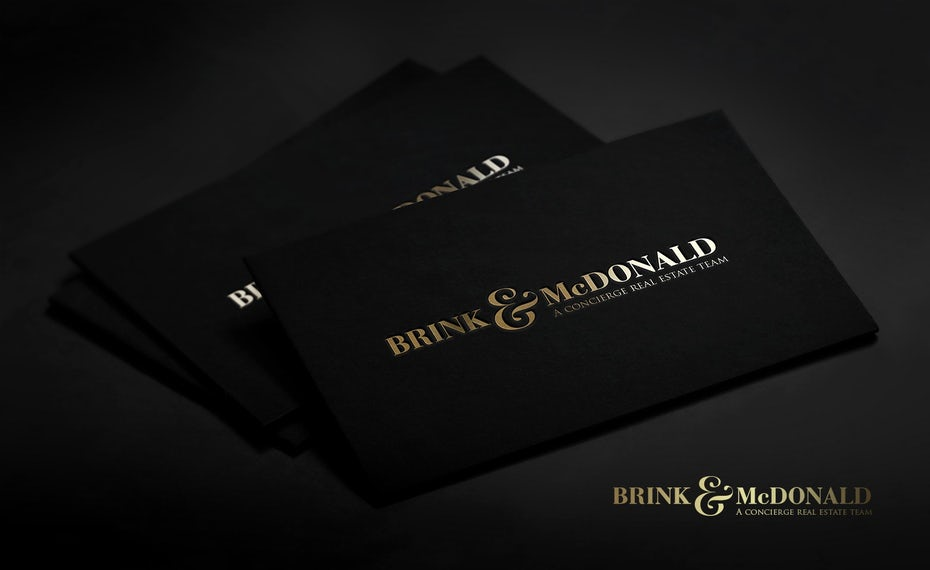 Branding trends 2020 example: Brink & McDonald business cards