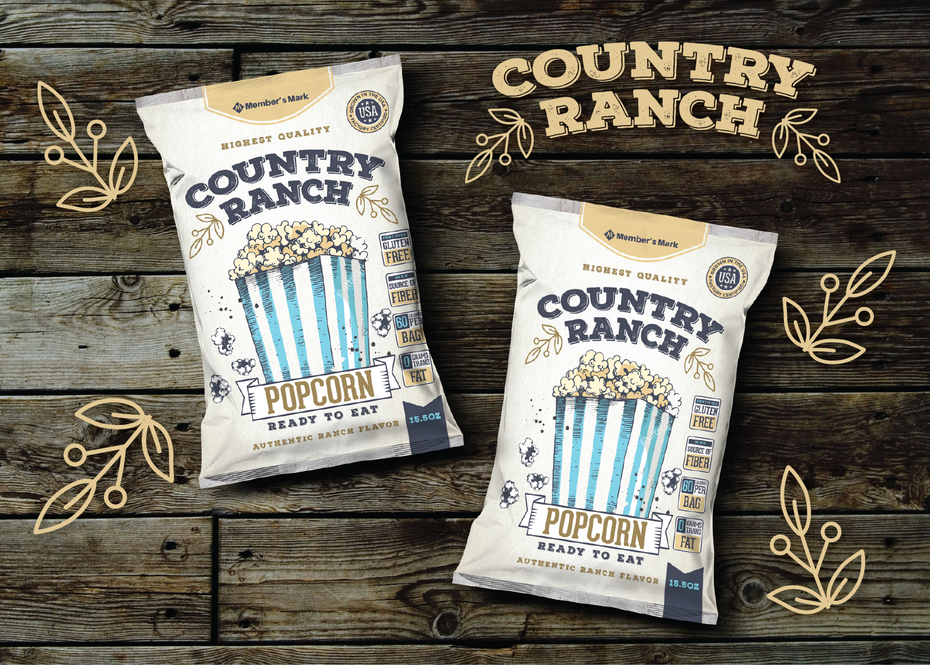 Color trends 2020 example: vintage palette Country Ranch popcorn packaging
