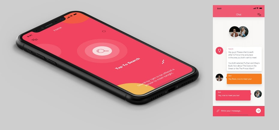 hot pink dating app interface with orange circles and white squiggles