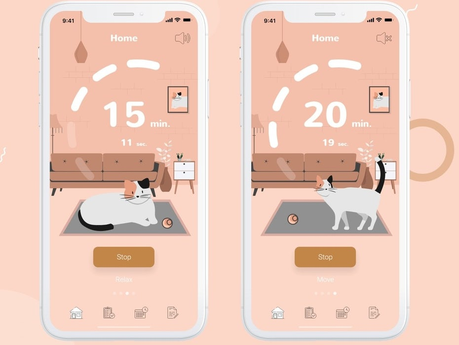 pastel-colored meditation app showing images of cats in indoor scenes