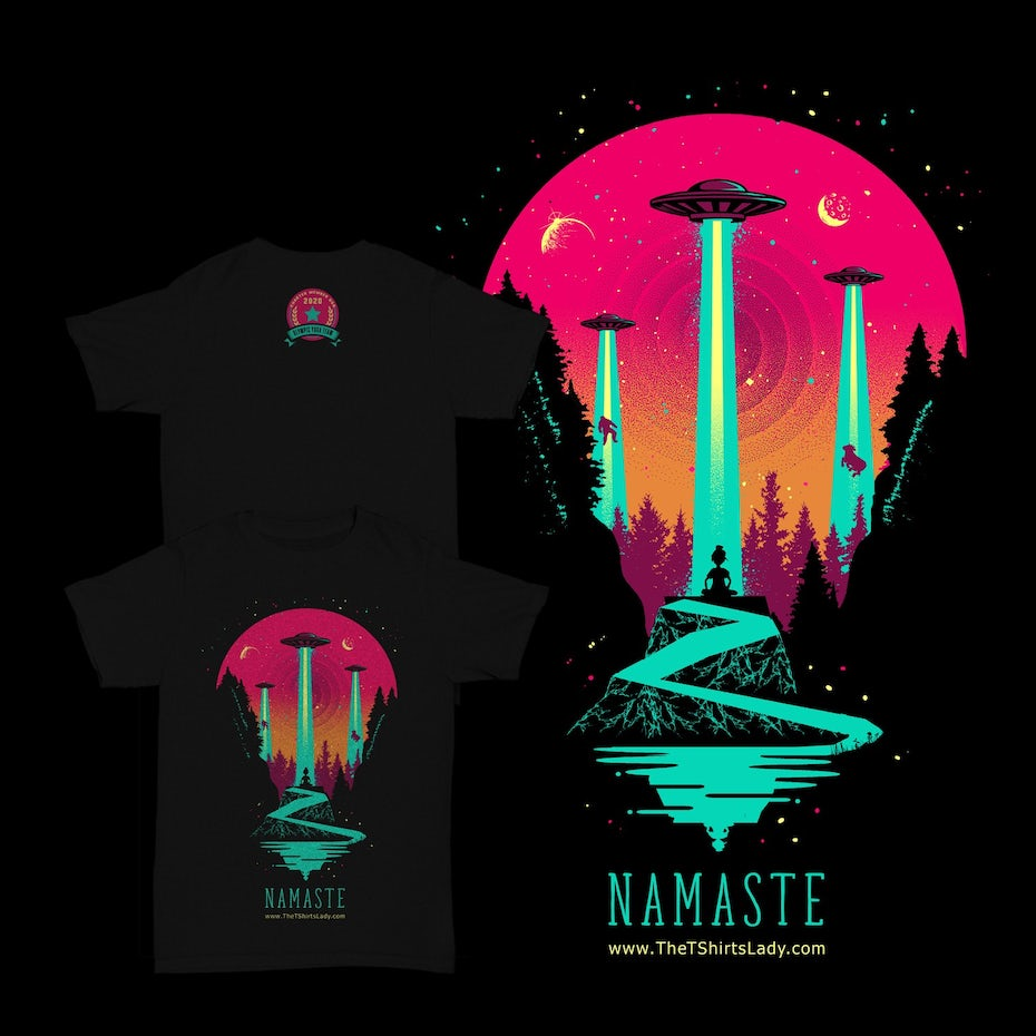 Color trends 2020 example: futuristic color Namaste T-shirt design