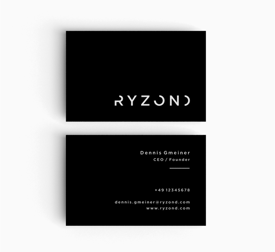 Business cards trends 2020 example: black and white business card
