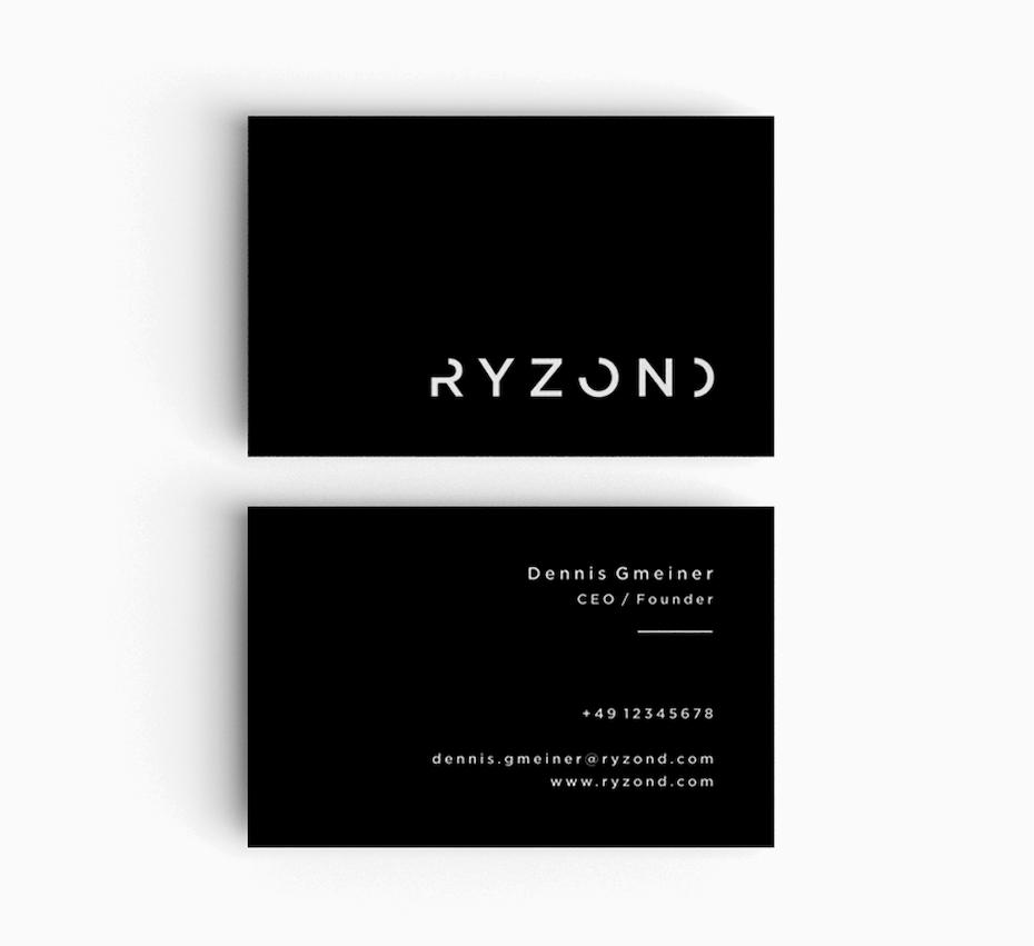 Визитные карточки Тенденции 2020 Пример: черно-белая визитка
