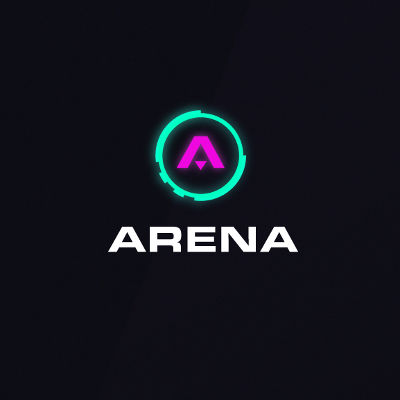 Color trends 2020 example: glowing neon Arena logo