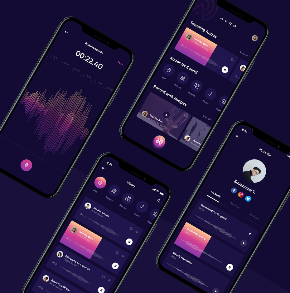 dark purple music app screens