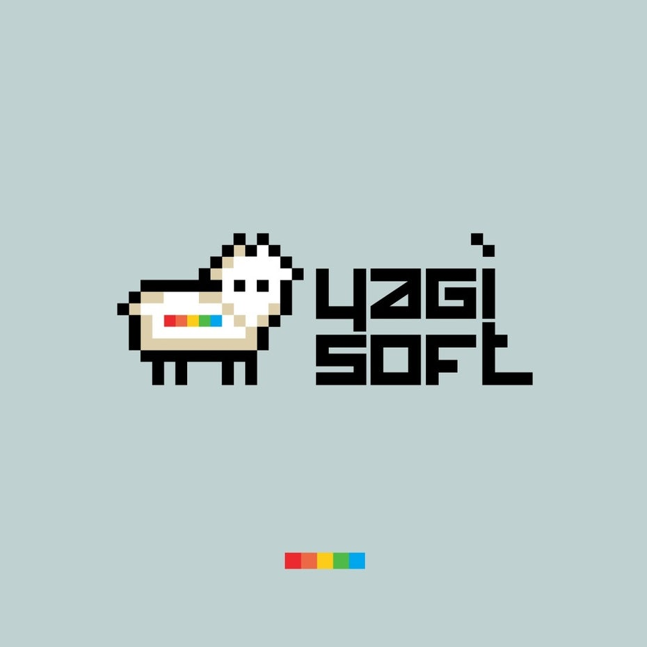 Logo design with pixel art font