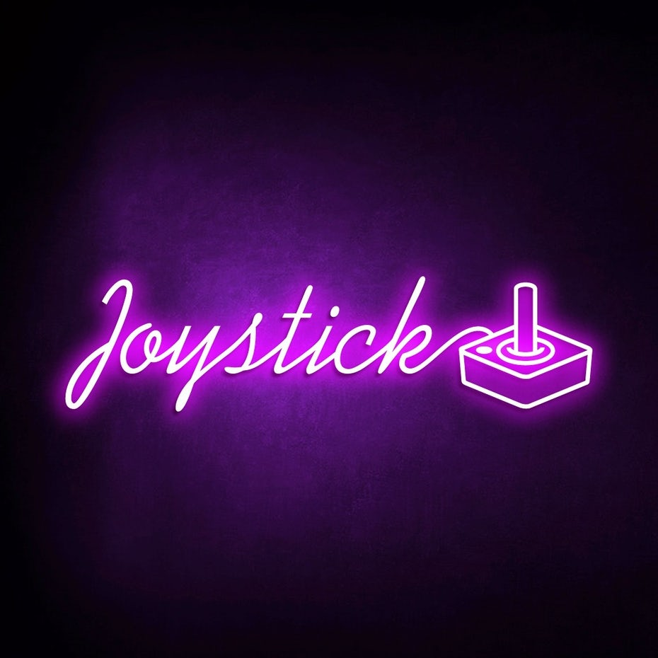 Color trends 2020 example: glowing neon Joystick logo