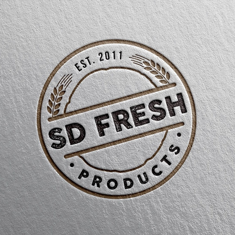 Business cards trends 2020 example: sd fresh products logo design