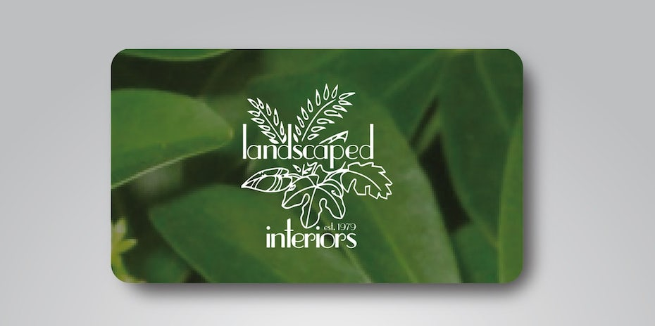 Business cards trends 2020 example: leaves landscape business card