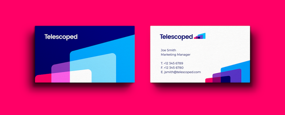 Business cards trends 2020 example: geometric neon business card