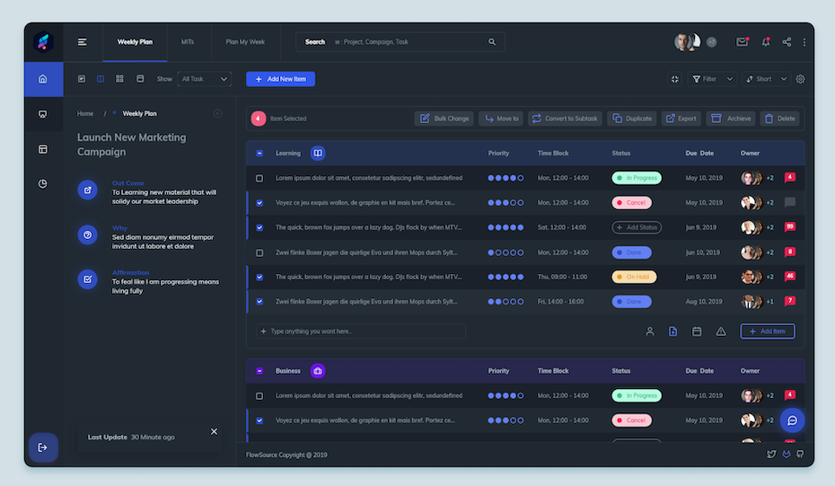 light and dark mode options for a workflow app