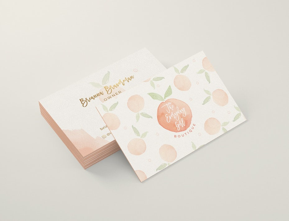 Business cards trends 2020 example: peach business card
