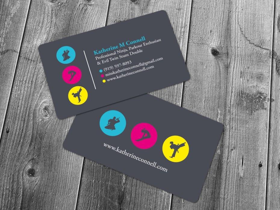 Визитные карточки тренды 2020 Пример: неоновая визитка