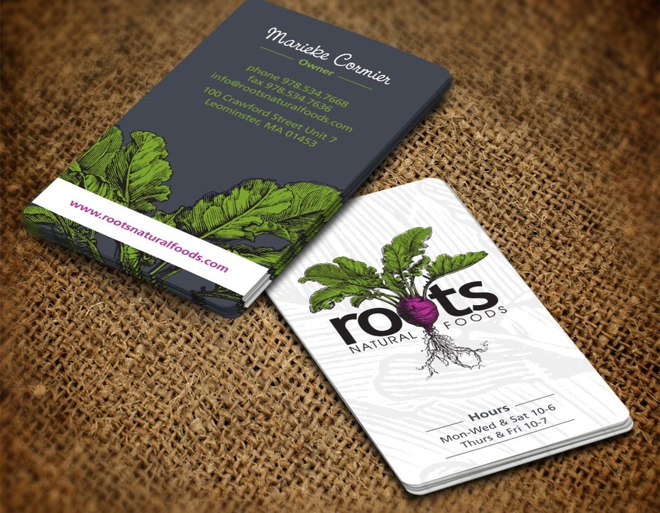 Business cards trends 2020 example: business card with natural illustration