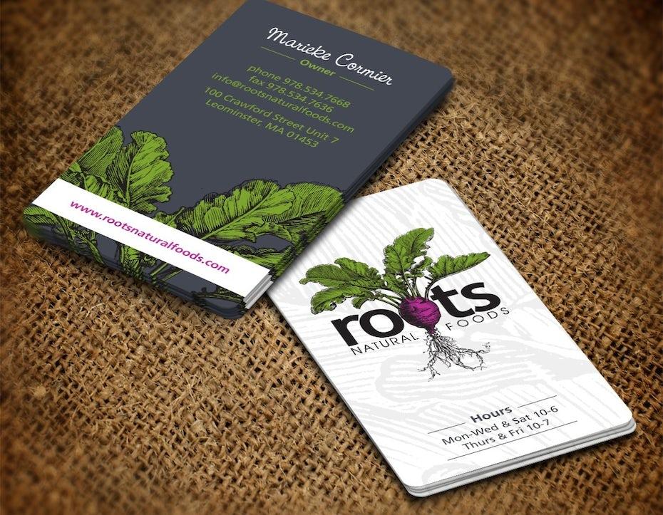 Ejemplo de tarjetas de visita 2020: tarjeta de visita con ilustración natural