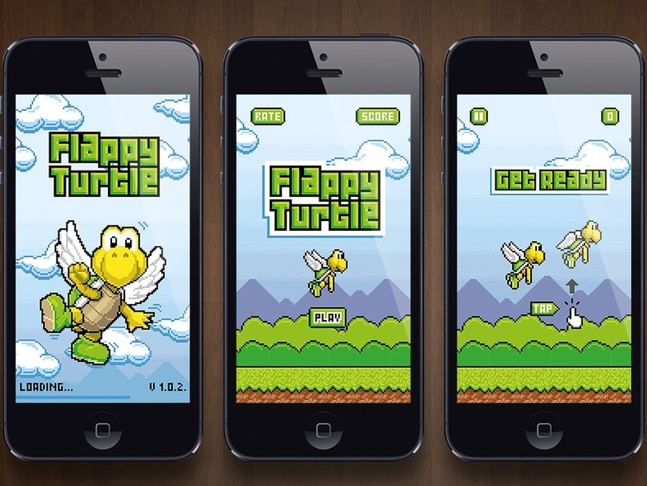pixelated game featuring a turtle with wings