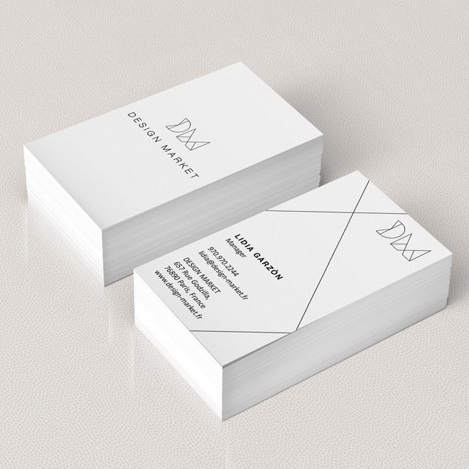 Business cards trends 2020 example: design market black and white business card