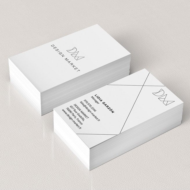design market black and white business card