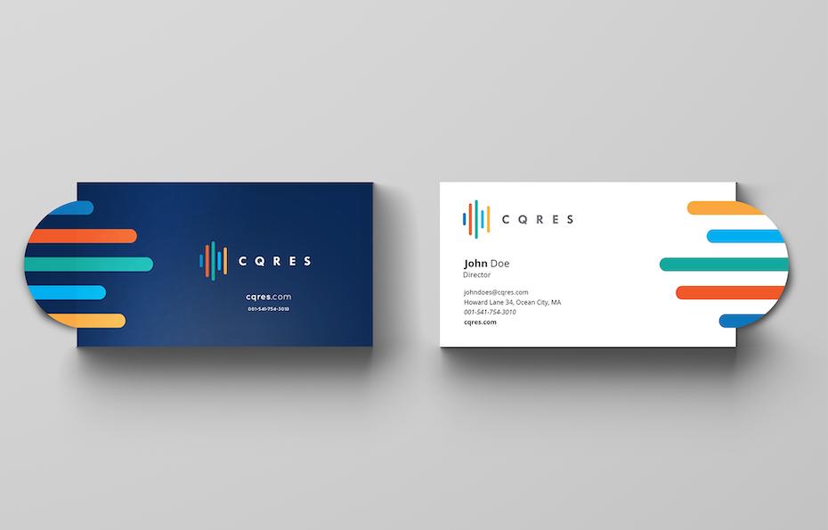 Ejemplo de tendencias de tarjetas de visita 2020: el logotipo sale de la tarjeta de visita