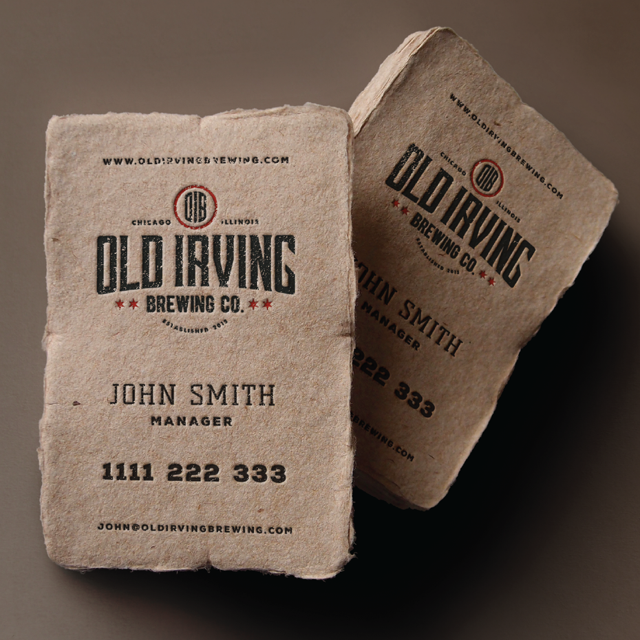 Business cards trends 2020 example: business card made from rough material