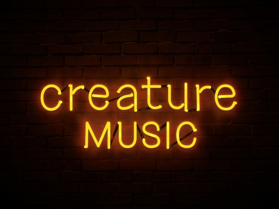 Color trends 2020 example: neon Creature Music logo