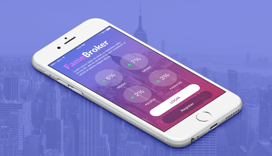 purple and pink gradient app interface
