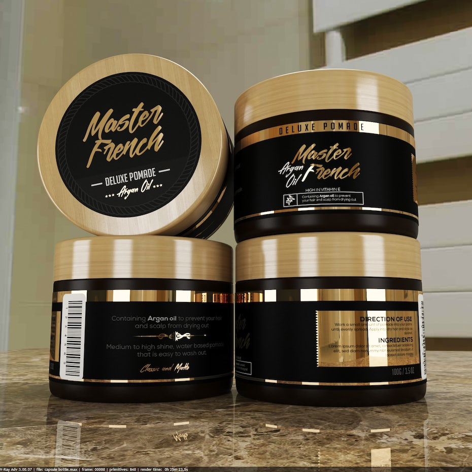 Branding trends 2020 example: Master French pomade packaging