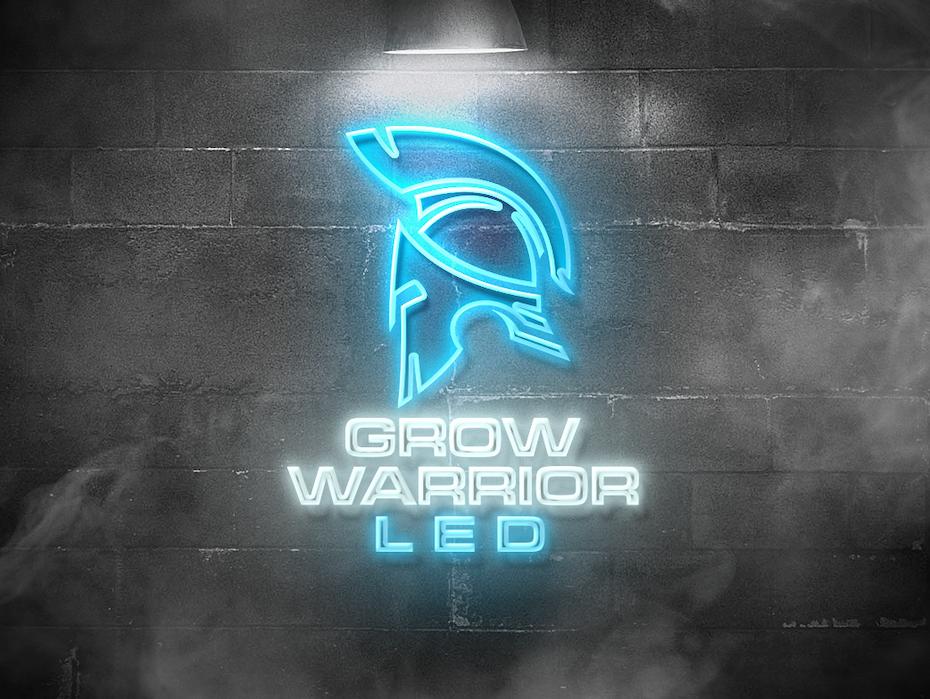 Приклад колірних трендів 2020: неоновий логотип Grow Warrior