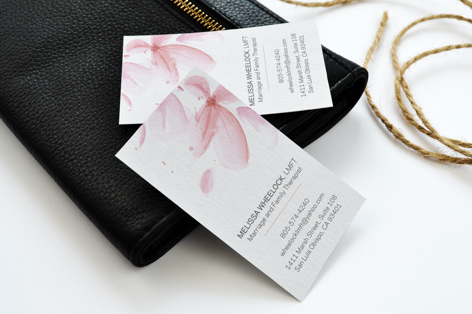 Business cards trends 2020 example: watercolor business card design