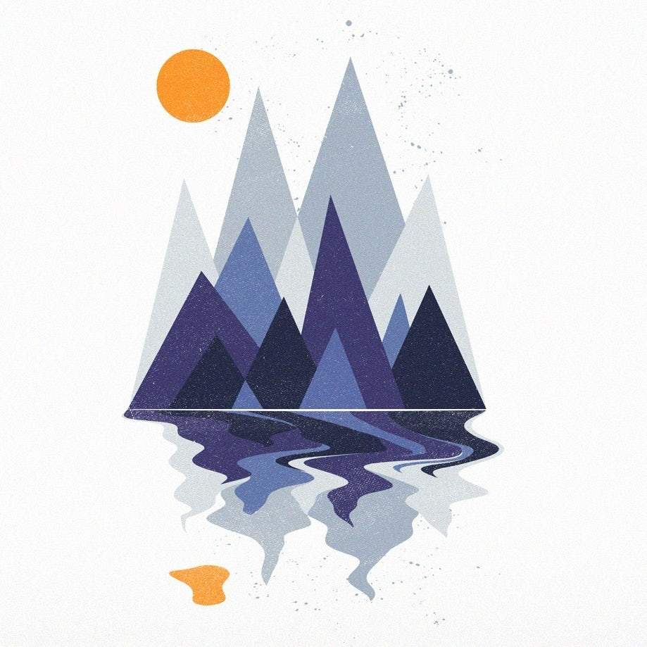 Color trends 2020 example: meaningful color Mountain scene T-shirt