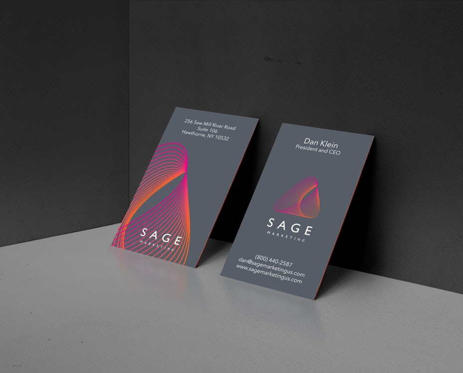 Business cards trends 2020 example: neon business card