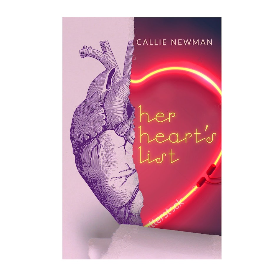 Color trends 2020 example: neon Her Hearts List book cover
