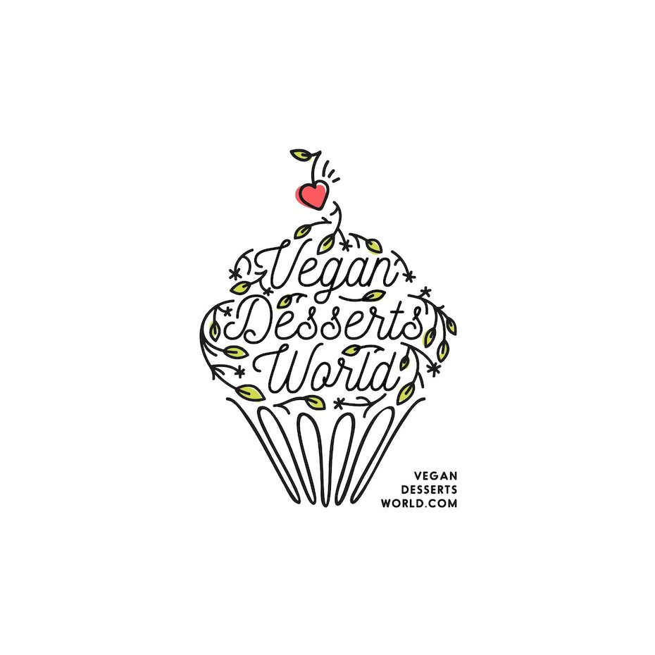 Branding trends 2020 example: Vegan Desserts World logo