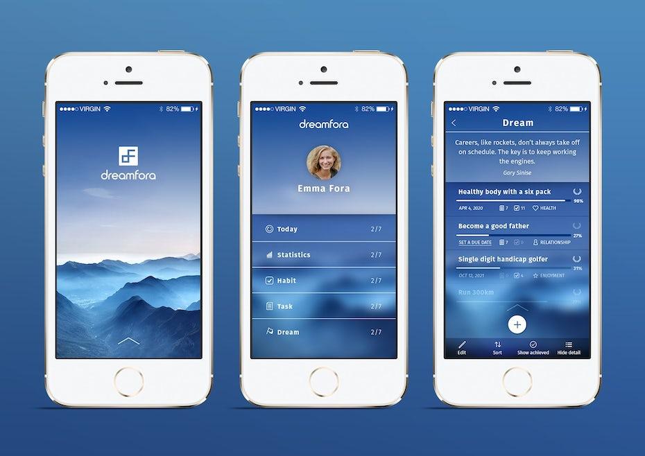 classic blue app design
